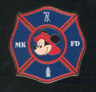 WDW Mickey Fireman Badge Blue Fire Dept Disney Pin