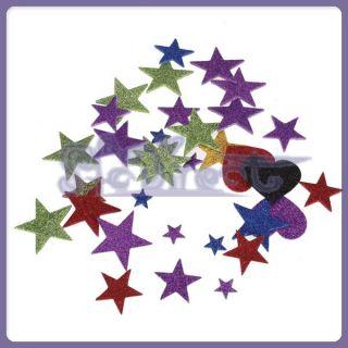 400 Lot Glittering Colorful Star Heart Foam Self Adhesive Sticker Kids