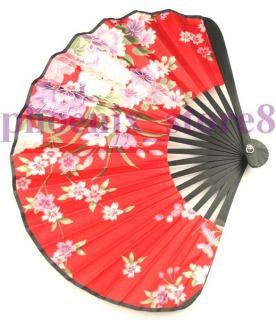Red Silk Hand Fan Little Vintage Pattern Folding Fans 3214