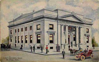 St Paul Minnesota MN 1912 First National Bank Vintage Postcard