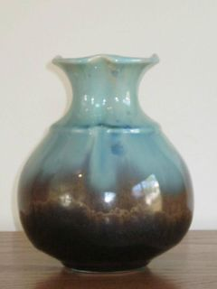 Flambeaux Follette Art Pottery Hand Made Signed Vase Browns Blues 7