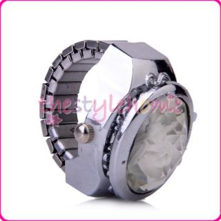 Inlay Oval Cover Finger Ring Watch Lovely Gift for Girl New