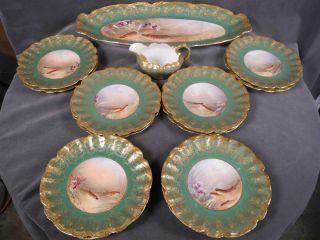Limoges 12 pc. gilded fish pattern china / dinnerware Plates & Platter