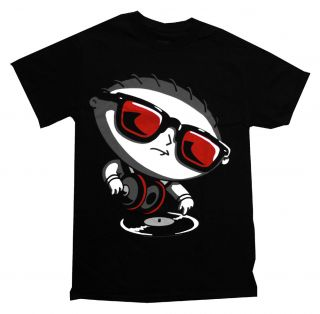 Family Guy Stewie DJ Turntable Funny Cartoon TV Show T Shirt Tee