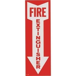 Fire Extinguisher With Arrow, Peel & Stick Vinyl Decal, Red & White, 4