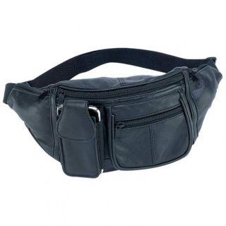 Black Solid Leather Fanny Pack 6 Pocket Travel Waist Belt Bag Cell