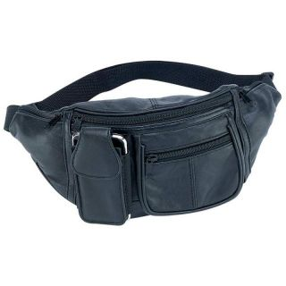 Black Solid Leather Waist Fanny Pack 6 Pocket Travel Belt Bag