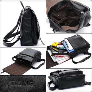 Tiding Fashion Style Mens Casual Backpack Soft Leather Unisex