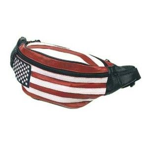 Two (2) Solid Leather Hip Packs Fanny Packs With USA Flag Design