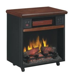 Infrared Quartz Wood Mantel Fireplace Portable Electric Heater Casters
