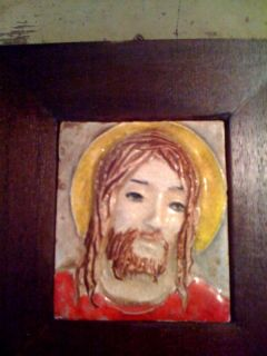 Beautiful Vintage Framed Art Tile of Jesus Really Cool You Will Love
