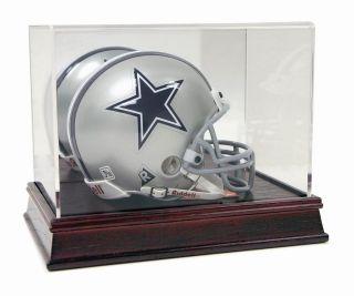 premium deluxe mini football helmet cherry wood base display case with