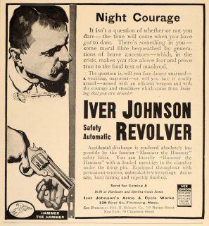 1913 Vinage Ad Iver Johnson Revolver Gun Fichburg MA