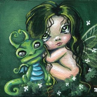 Painting Green Dragon Forest Fairy Whimsical Fantasy Art OOAK