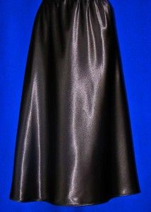 Ll Midnight Black Farr West Dance Length Satin Half Slip M