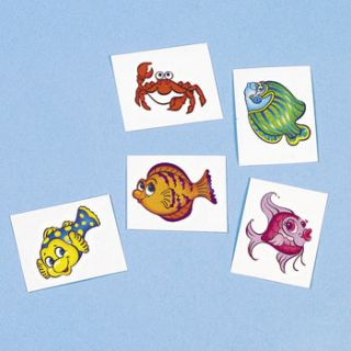 tropical fish tattoos sealife beach pool luau birthday party favors