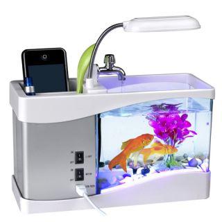 Mini USB LCD Desktop Lamp Light Fish Tank Aquarium Timer LED Clock