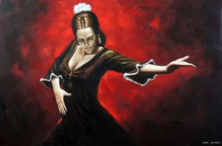 Spanish Flamenco Dancer Brunette Traditional Dance 24x36 Oil on Canvas