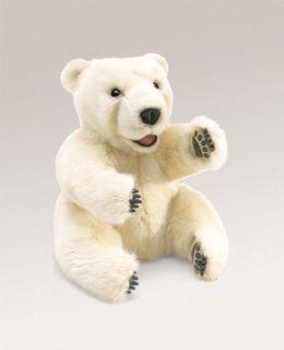 Folkmanis Puppets Sitting Polar Bear Plush Hand Puppet
