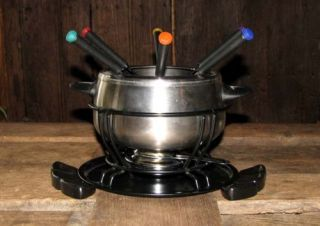 Vintage 16 Piece Stainless Steel Fondue Set Party