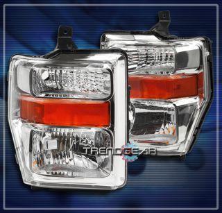 10 Ford Super Duty Crystal Headlights Lamps Chrome F 250 F 350 F 450 F