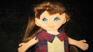 Original 1960s Vintage Ideal Flatsy Doll School Girl Cute Plaid Dress