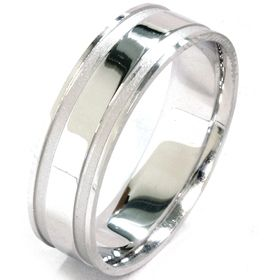 Double Inlay 6mm Flat Comfort Fit Wedding Ring Band Sz 7 12 10K