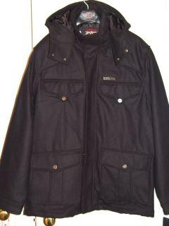 Mens Coogi Black Wool Jacket Coat Zip Off Hood 3XL New