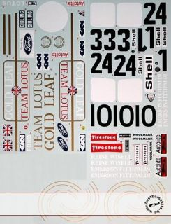 Decal Lotus 72C Early 72D for Tamiya Lotus 72D Fittipaldi Rindt