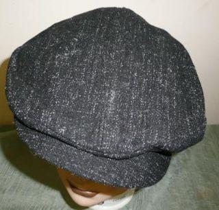 Vtg 40s 50s Black Salt Pepper Fleck Wool Newsboy Cabbie Clicker Cap 7