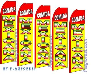 five) 11.5 COMIDA MEXICANA SWOOPER #1 FEATHER FLAGS BANNERS