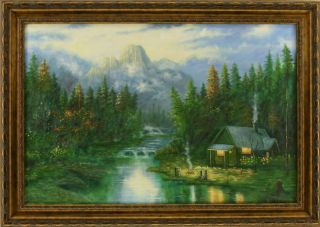 in The Woods Forest Waterfall Mountain Lake Framed Oil Painting