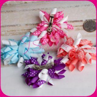 Toddler Girl Korker Hair Bows 4pcs Assorted Color Clip