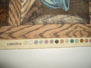 Fornasetti Tessuto Stoffa Libreria Design Scampolo Vintage by L