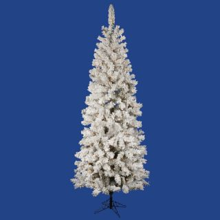 Flocked Unlit Slim Pencil Christmas Tree No Lights not Prelit FP