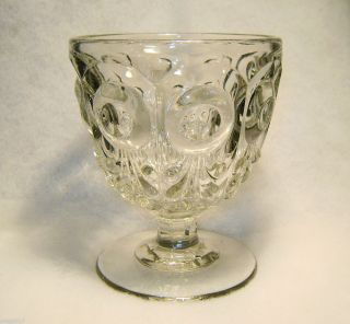 Bullseye & Fl De Lis EAPG Flint Glass Goblet matches Whale Oil Lamp