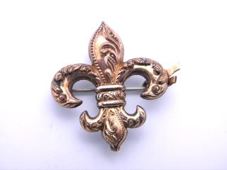 antique gf russian gold tone fleur de lis watch pin