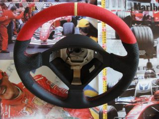 Ferrari 360 Steering Wheel Red Alcantara Black Leather with Yellow Top