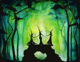 Haunted Forest Green Celtic Witch Art Modern Painting