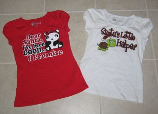 Red White Girl Christmas Tops T Shirts Sz 9 10 Forever Orchid