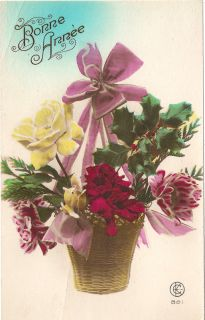 Winter Flower Arrangement with Holly Vintage French Christmas Postcard