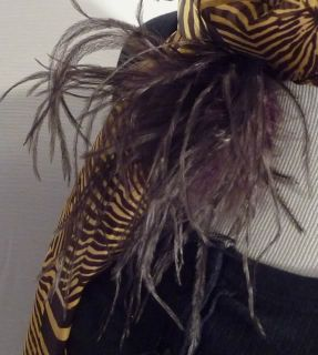 Ostrich Feather Flower Puff Hair Clip Brooch Lapel Pin