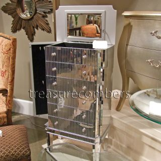 art deco mirrored jewelry box cabinet armoire chic