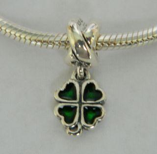 Authentic Pandora Green Four Leaf Clover Charm. item# 790572EN25