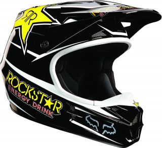 Fox Racing 2013 V1 Rockstar Energy Black Yellow Helmet MX ATV