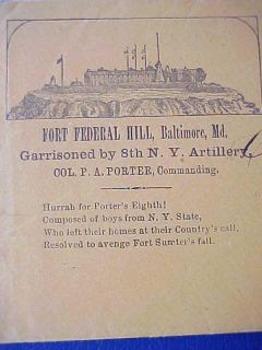 Civil War Fort Federal Hill Baltimore MD 1863 65 Patriotic Cover