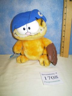 Garfield Baseball Fan with Hat Mitt Plush 1981 Dakin