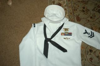 US Navy SEAL Dress White Uniform 40L USN