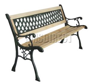 Wooden Slat Garden Bench Lattice Style Cast Iron Legs