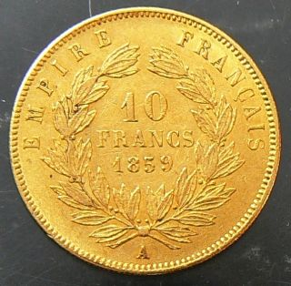 1859 A France 10 Francs Gold Coin